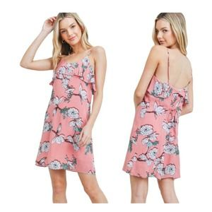 EVERLY Floral Spaghetti Straps Short Dress